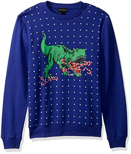 Alex Stevens Men's Candy Cane T-rex Ugly Christmas Sweater, Blue, X-Large