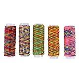 5 carretes de hilo de coser Artibetter de poliéster en los colores de arcoíris. Hilo de alta resistencia para bordado, remallado, acolchado y máquina de coser