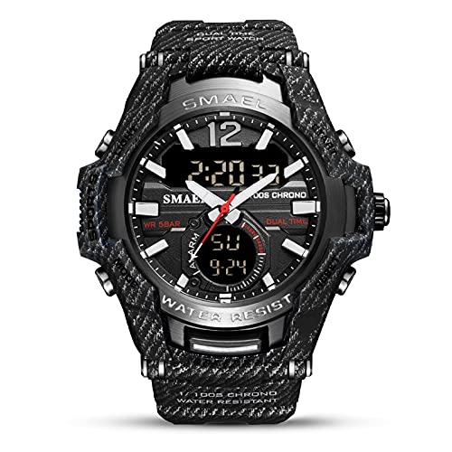Kcanamgal Relojes Hombre Digitales Relojes Militares LED Reloj Deportivos Impermeable Reloj de Cuarzo Analogicos con Alarma Reloj de Pulsera de Doble Pantalla para Hombres,Cowboy Black