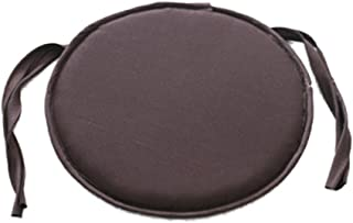 YOTHG Soft Round Seat Pad Cushions with Ties Circular Seat Pads Removable and Washable Home Office Chair Pad 28cm x 28cm(Dark Coffee)