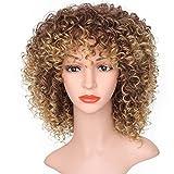 AOMOSA Peluca mixta marrón y rubia Peluca corta afro rizada rizada Pelucas sintéticas para mujeres negras Fibra de pelo sintético alto 16 pulgadas