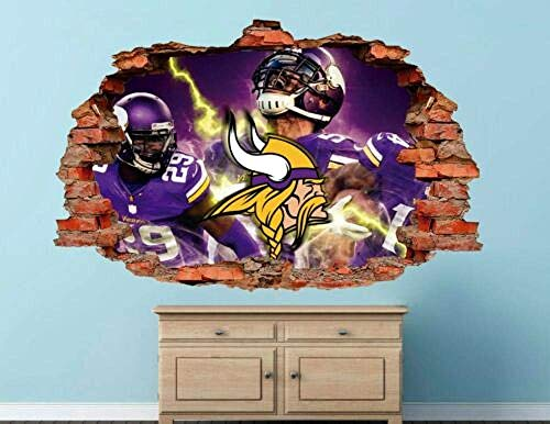 Minnesota Vikings Fottball Nfl Custom Zertrümmert 3D Wandtattoo Aufkleber Vinyl 55X60Cm