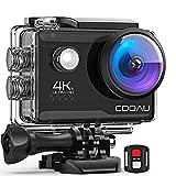 COOAU 4K Camara Deportiva 20MP WiFi Underwater 40M Puede usarse como. con Control Remoto y micrófono Externo Cámara de Casco de estabilización EIS con baterías 2X1200mAh y 20 Accesorios (CAM 2)