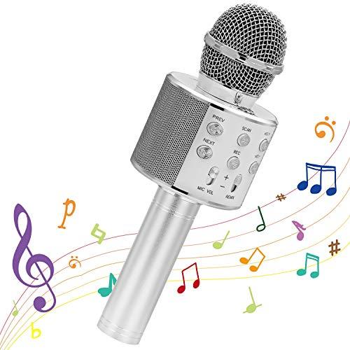 Ankuka Karaoke Bluetooth Mikrofon Kinder,Tragbares Drahtloses 4 in 1 Karaoke Handmikrofon Home Karaoke Maschine mit Lautsprecher und Aufnahmefunktion, Geburtstagsgeschenk Spielzeug für Kinder