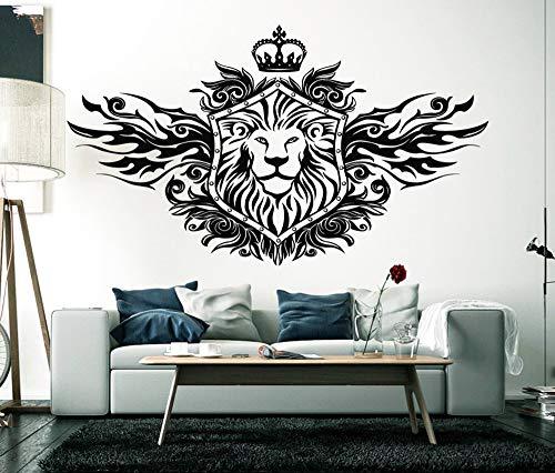 guijiumai König der Löwen Krone Wandtattoo Wohnzimmer Wohnkultur Tier Wandaufkleber Löwen Wand Vinylkunst Abnehmbare Schlafzimmer Ornament schwarz 73x42 cm