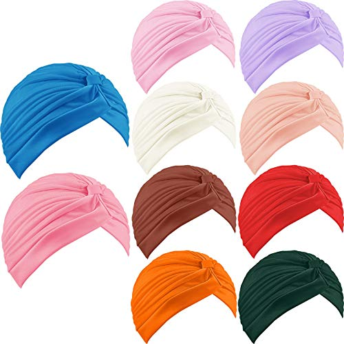10 Pieces Stretchy Turban Cap Head Bennie Cover India's Hat Turban Pleated Twisted Headscarf Solid Color Headwrap for Women Girls (Multiple Colors)