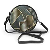 Bolsa de hombro con estampado geométrico dorado sin costuras para mujer, de piel sintética, con cremallera, redondo, para trabajo, viajes, citas