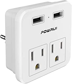 European Plug Adapter, travel adapter, POWRUI international power adapter with 2 AC Outlets and Dual USB ports for USA To ...