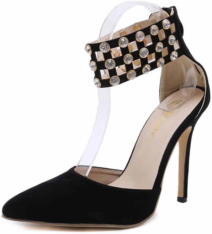 Women Pointed Sandals 2018 Summer New Rhinestone High Heel Ankle Strap Pumps Black