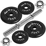 Movit® Kurzhantel PRO Set, Gusseisen Hantel 10kg, Stange 30mm Standardnorm, Griff gerändelt,...
