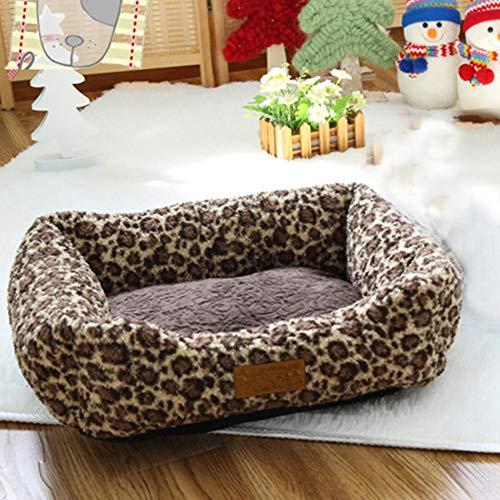 PYapron Leopard Grainpet Hundebett, Herbst- Und Winterzwinger, Atmungsaktives Haustierbett Katze Und Kleiner Mittlerer Hundewelpe (47X40x14cm)