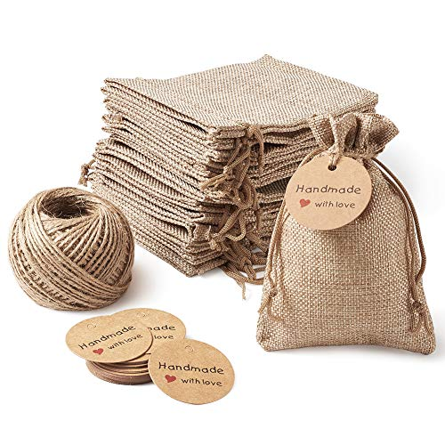 MegaPet 30pcs Burlap Bags with Drawstring Linen Jewelry Gift Pouches with Hang Tags Free 82 Feet Hemp Cord String for DIY Craft Wedding Christmas Party Favors 5.3x3.74 inch