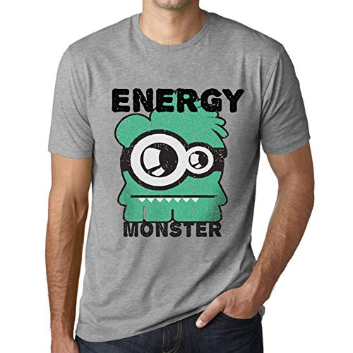One in the City Hombre Camiseta Vintage T-Shirt Gráfico Energy Monster Gris Moteado