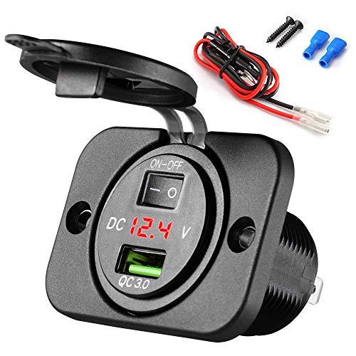 SOAIY USB Coche Panel para automóvil QC 3.0 Carga rápida con voltímetro 12V / 24V con Cable, USB Coche empotrable mechero para GPS, Motocicleta, Barcos, Autocaravana, camión, etc.