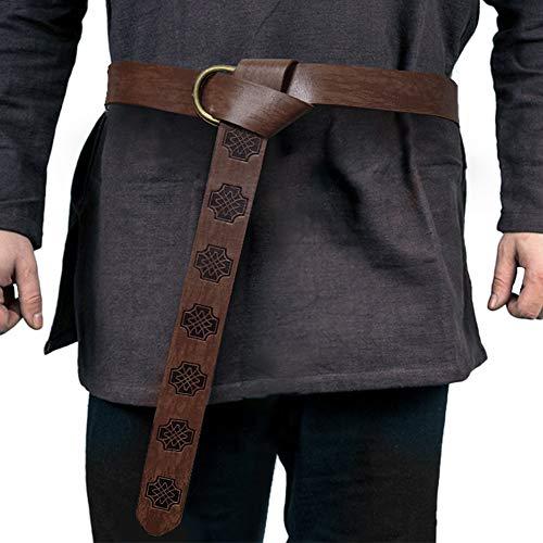 HiiFeuer Medieval Embossed PU Leather O Ring Belt, Retro Renaissance Knight Belt (Dark Brown A)