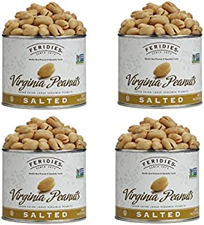 FERIDIES Super Extra Large Lightly Salted Virginia Peanuts - 9oz Vacuum Sealed Tins (Pack of 4)