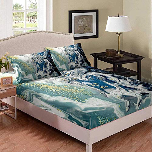 HKDGHTHJ 3D duvet cover 4 piece set Abstract cool texture marble pattern 220x230 CM Modern Bedding Set Bed Flat Sheet Duvet Cover Pillowcase Side Bed Linens Home Textile