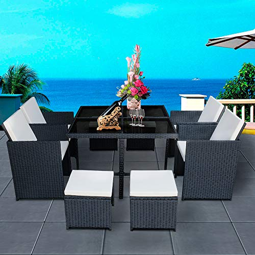 Panana 8 Seater Rattan Garden Furniture Set Dining Table and Chairs Stools Set Outdoor Patio and Conservatory Black