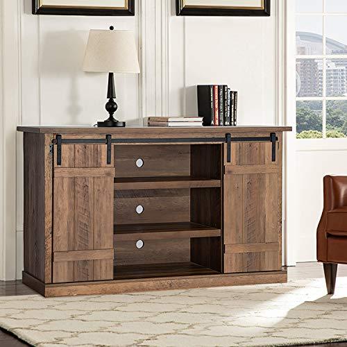 Pellebant Mesa consola de TV de 54 pulgadas con puerta corredera, gabinete de madera de granero con estantes ajustables para el hogar, sala de estar, centro de entretenimiento, acabado de roble