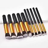 YYYGUI - Juego de 10 brochas de maquillaje, 5 unidades, tamaño pequeño, oro blanco, negro, oro, negro, plata, herramientas de belleza