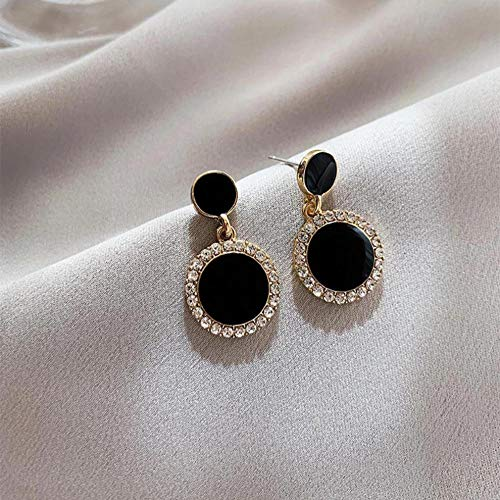 Classic Round Black Circle Drop Earrings For Women Lovely temperament Party Jewelry Gifts