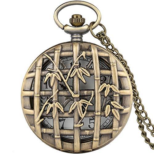 WOAIXI Reloj De Bolsillo Vintage,Estilo Antiguo Bronce Hueco Bambú Cuarzo Reloj Reloj Retro Redondo Dial Analógico Collar Colgante Reloj para Hombres Mujeres Regalo