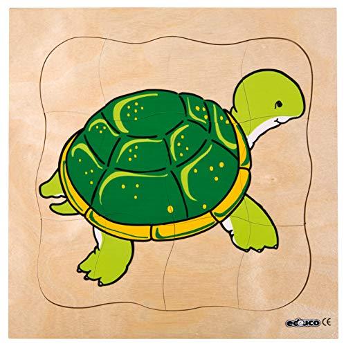 Educo | Wachstumspuzzle - Schildkröte | Lehrmaterialien Erdkunde | Puzzle - Spielen und lösen - Schichtenpuzzles | Ab 84 Monate | Bis 144 Monate, grün