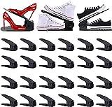 Zapateros ajustables, apilador de zapatos, juego de plástico, organizador de zapatos, apilador ajustable, ahorra espacio, antideslizante, organizador ajustable, de polipropileno (negro, 24 unidades)