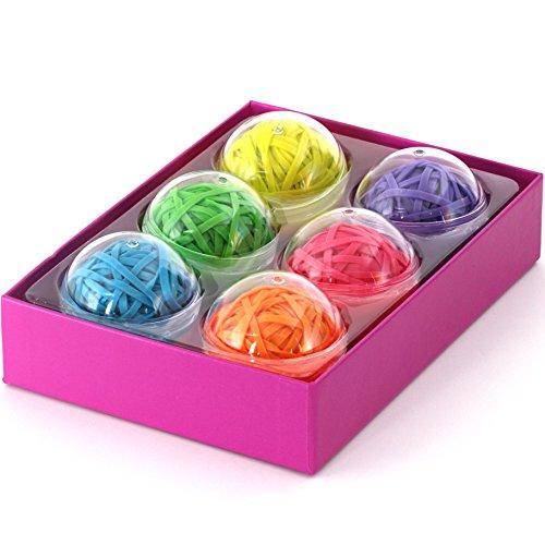 Pelotas con Gomas Elásticas multicolores, 270 bandas elásticas de colores