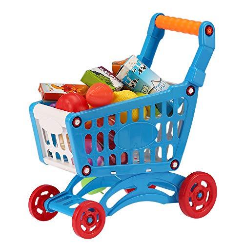 ANNIUP Chariot de Course, Caddie Enfant, Caddy de Course, Jouets éducatifs, 14 Produits d'épicerie, Accessoires de Fruits, légumes, Boissons et Aliments, Pour la fille et le garçon