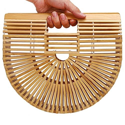 Bolso de bambú, Bolso de bambú Vintage para Mujer, Bolso Tejido semicircular, Bolso de Playa Hueco para el Verano(S)