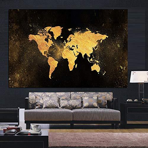 N / A MUTU Modern Abstract Schwarzgold Weltkarte Leinwand Malerei Poster und Druck Nordic Wandkunst Bild für Wohnzimmer Kinderzimmer Dekor 30x40 cm No Frame