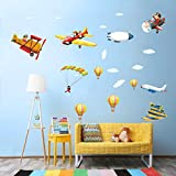 Watercolor Airplane Wall Decals Cartoon Boy Pilot Wall Stickers for Kids, Colorful Air Ballon Clouds Wall Posters Vinyl Peel and Stick Wall Decor Murals for Boys Bedroom Nursery