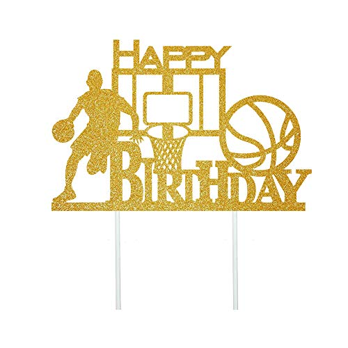 Anxdh Golden Flash Happy Birthday Cake Topper, Birthday Party Cake Decoration, Basketball Theme Cake Topper