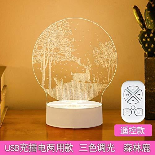 luz de la noche portátil 3D LED Sleep Mesita de noche Lámpara-USB Forest Deer lampara noche Luz cálida de la noche