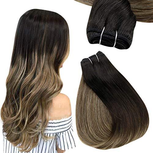 Easyouth Natural Smooth Brazilian Hair Weft Couleur Blond Miel Surligné Noir à Brun Moyen Trame de Cheveux Bundles de Cheveux Humains 12pouces 30cm 70g