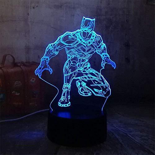 Princesa luz nocturna para niños negro panther 3D ilusión lámpara 16 colores cambiantes luz nocturna con control remoto, regalo de cumpleaños para niños