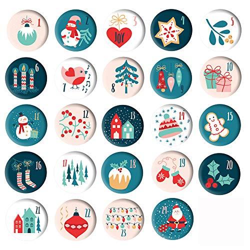 24 Adventskalender-Zahlen Buttons bunt - Zahlen zum selber basteln 1 bis 24 Sticker Ansteck-Nadeln für Kalender zum selber basteln (Ø 37 mm) - 24 Zahlen für DIY - zum Anstecken an Jutesäckchen