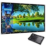 Projector Screen, HENZIN 120 Inch Portable HD 16:9 PVC Projection Screen for Indoor Outdoor Home Theater...