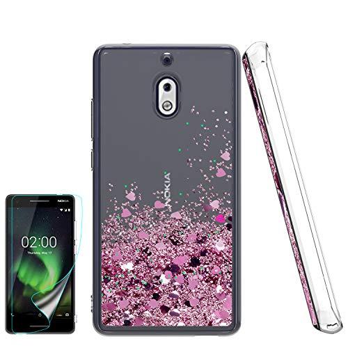Atump Nokia 2V Hülle, Nokia 2V Glitzer Hülle mit HD Bildschirmschutzfolie für Mädchen Frauen Glitzer Shell Bewegliche Quicksand Klar Stoßfest Anti-Kratzer Handyhülle für Nokia 2V Pink