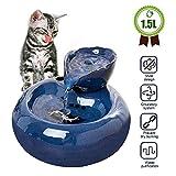 GOHHK Trinkwasserbrunnen für Haustiere, automatische Katzenwasserbrunnen, Keramik-Trinkbrunnen für Hunde und Kätzchen Quiet Cats Wasserspender mit Filter Silent rutschfest