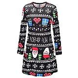 Reciy - Vestido de Navidad para mujer, de manga larga, estilo informal