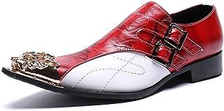 Chaussures en cuir pointues pour hommes,Décontractée mode Chaussure Homme Personnalité Métal Pointé,Chaussures derby busin...