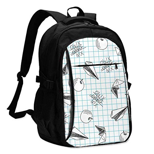 asfg Resistente a Las Manchas Plaid Paper Airplane Multifunctional Personalized Customized USB Backpack, Student School Outdoor Backpack,Travel Bag Laptop Bookbags Business Daypack.