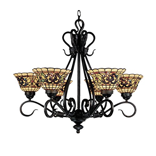 Elk 366-Va Tiffany Buckingham 6-Light Chandelier, 26-Inch, Vintage Antique With Tiffany Style Glass
