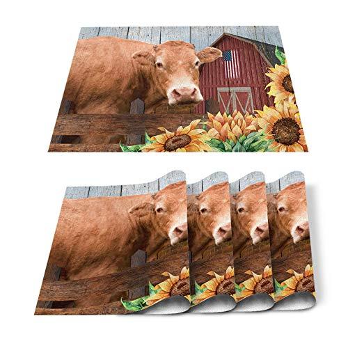 Juego de 6 manteles individuales de granja con diseño de girasol, vaca, estilo retro, de madera, resistente al calor, lavable