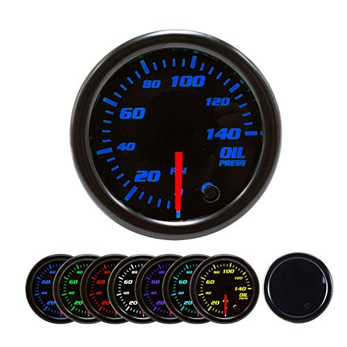 Oil Pressure Gauge Kit 7 Color 140PSI with Mechanical Oil Pressure Sensor - 2-1/16