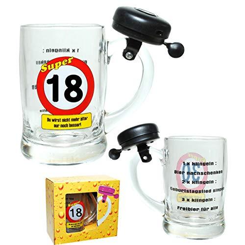 KMC Austria Design Bierglas Bierbecher 0,4Liter mit Klingel zum 18.Geburtstag mit Verkehrsschild 18 - Bierglas 0,4Liter mit Klingel im Geschenkskarton