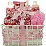 Valentine's Bath and Body - Spa Gift Baskets for Women & Girls, Cherry Fragrance, Spa Kit Birthday Gift Includes Loofah Sponge, Bath Salt, Body Lotion, Soap Rose, Body Mist, Shower Gel And Bubble Bath