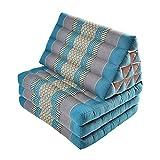 Zafuko Large Foldout Triangle Thai Cushion/Bed - Teal Blue/Turquoise